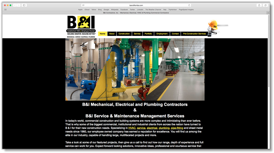 B&I Website (Done in collaboration with in-house staff)