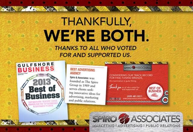 Magazine Readers Vote us Best Ad Agency - Spiro & Associates