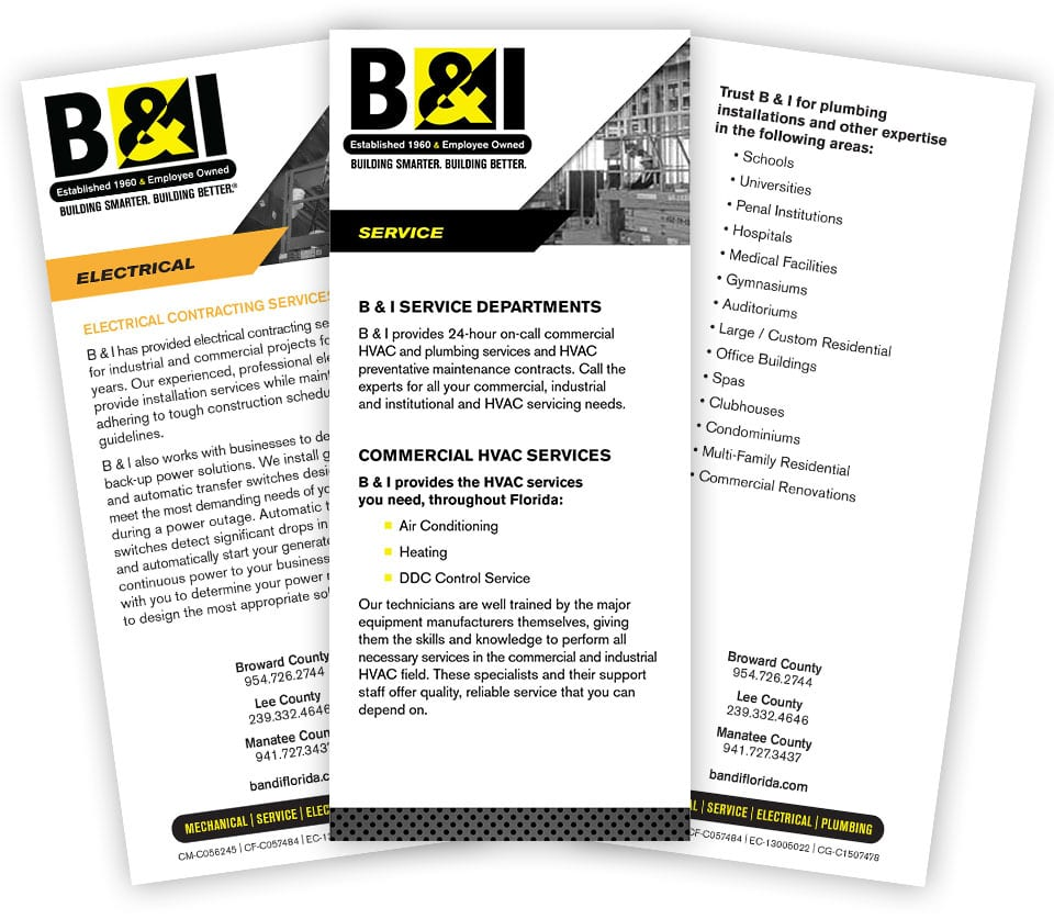 B & I Rack Cards Package